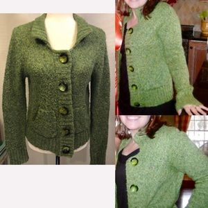 💜3/$15 <Fever>Green Button Front Cardigan Sweater